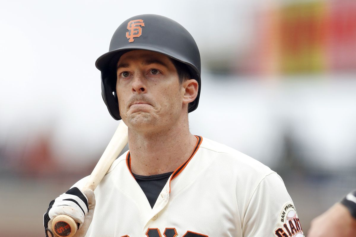 San Francisco Giants' Mike Yastrzemski reacts to called third strike in 9th inning of 6-2 loss to Arizona Diamondbacks during MLB game at Oracle Park in San Francisco, Calif., on Sunday, May 26, 2019.