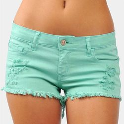 """<b>Necessary Clothing</b> Grunge Girl Denim Shorts in mint, <a href=""""http://www.necessaryclothing.com/bottoms/Bottoms-Shorts/NCC08726-Grunge-Girl-Denim-Shorts-Mint"""">$25.99</a>"""