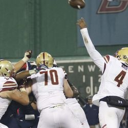 The UConn Huskies take on the Boston College Eagles in a college football game at Fenway Park in Boston as part of the Fenway Gridiron Series on November 18, 2017.
