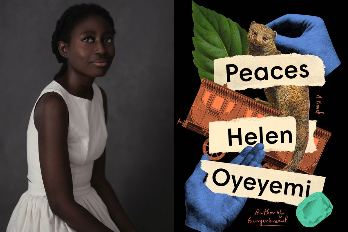 """The cover of the novel """"Peaces"""" by Helen Oyeyemi and a picture of the writer."""