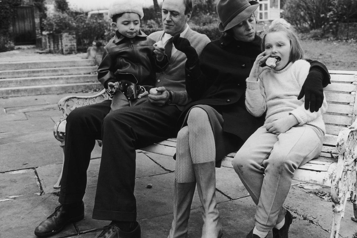 Roald Dahl, his wife, and two of his children about a year after Olivia's death.