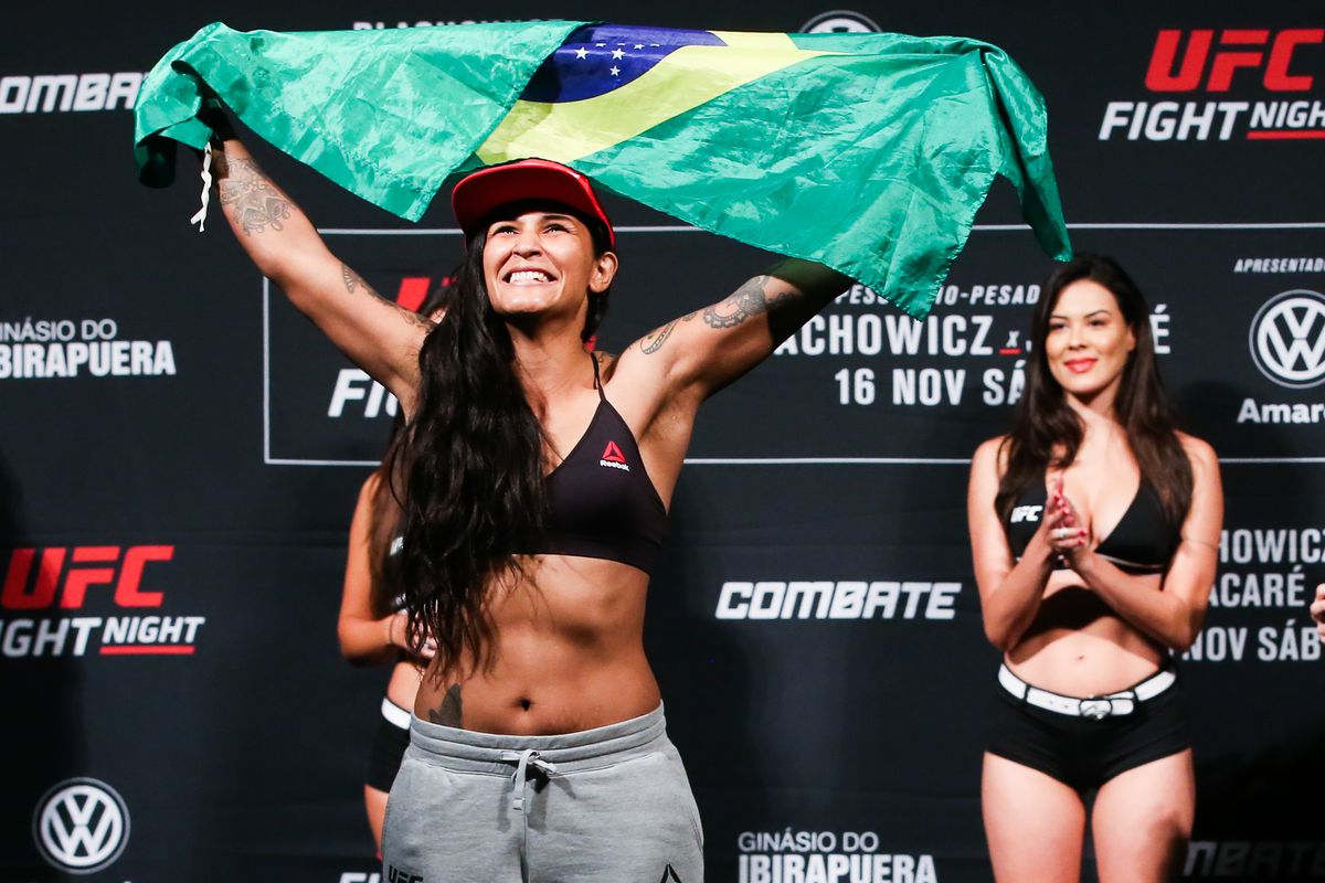 Vanessa Melo of Brazil weighs in during the UFC Fight Night Blachowicz v Jacare Weigh-Ins at Ibirapuera Gymnasium on November 15, 2019 in Sao Paulo, Brazil.