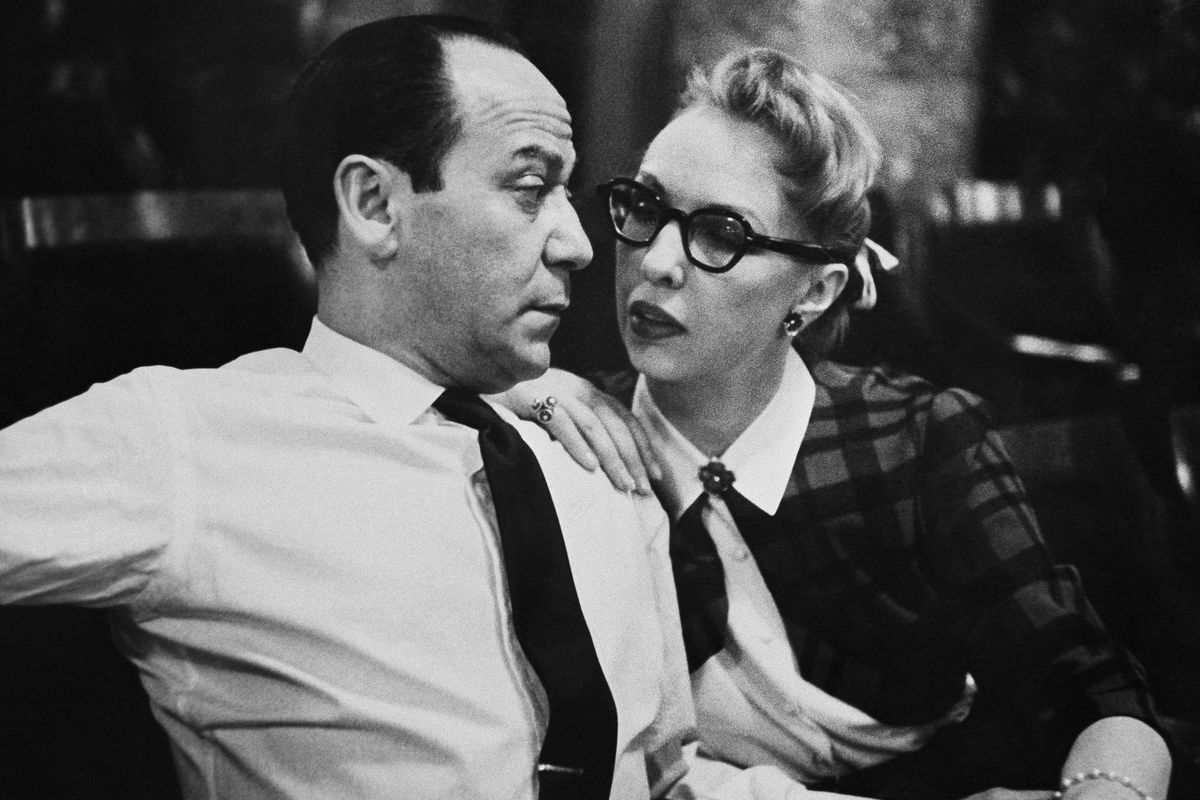 """Broadway composer Frank Loesser and his wife and musical partner Lynn are shown April 26, 1956 in New York. Their song """"Baby, It's Cold Outside"""" was originally a song they performed for friends at their housewarming party."""