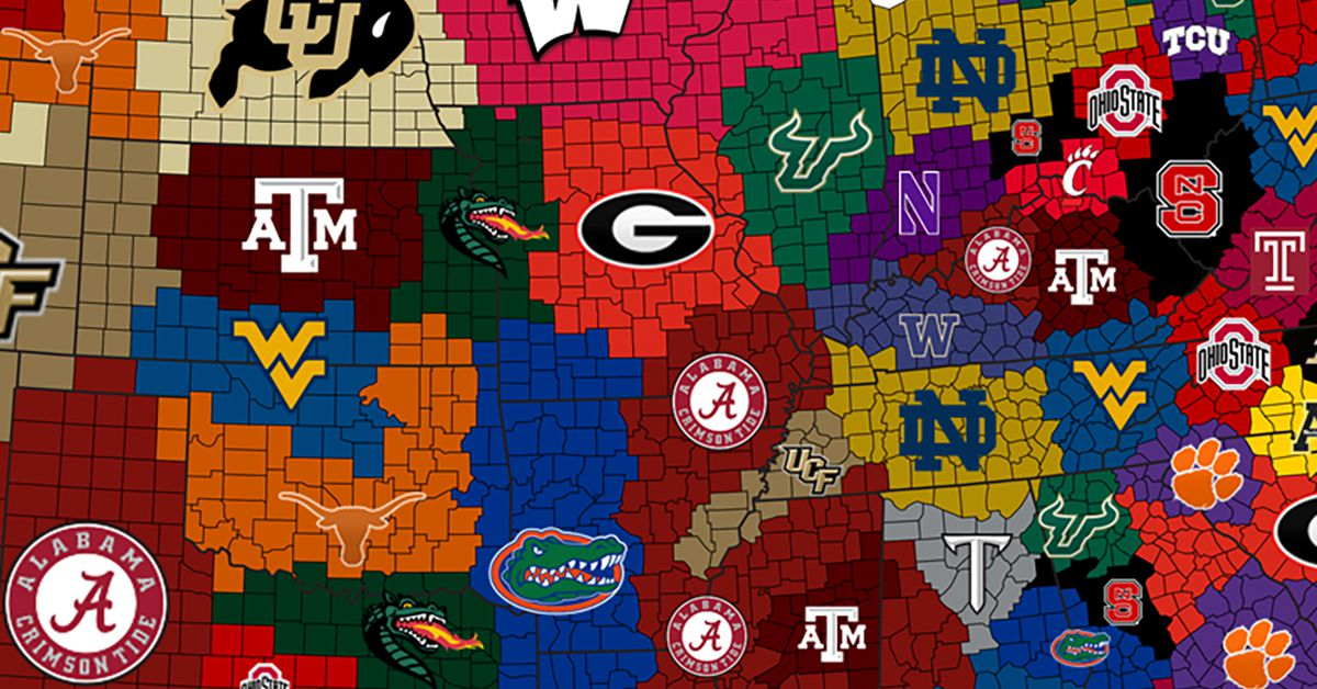 The College Football Empires Map, where Florida is now the ...