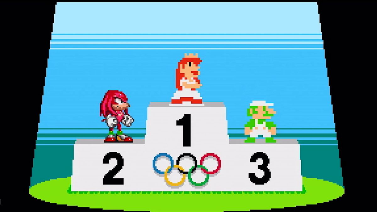 8-bit versions of Luigi, Knuckles, and Princess Peach are standing on the medal podium in Mario & Sonic at the Olympic Games Tokyo 2020