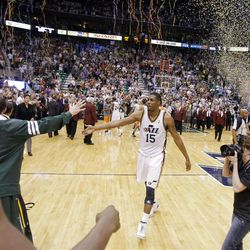 Utah Jazz forward Derrick Favors (15) walks off the floor after the Jazz defeated the Phoenix Suns play Tuesday, April 24, 2012 in Energy Solutions arena. Utah won 100-88.