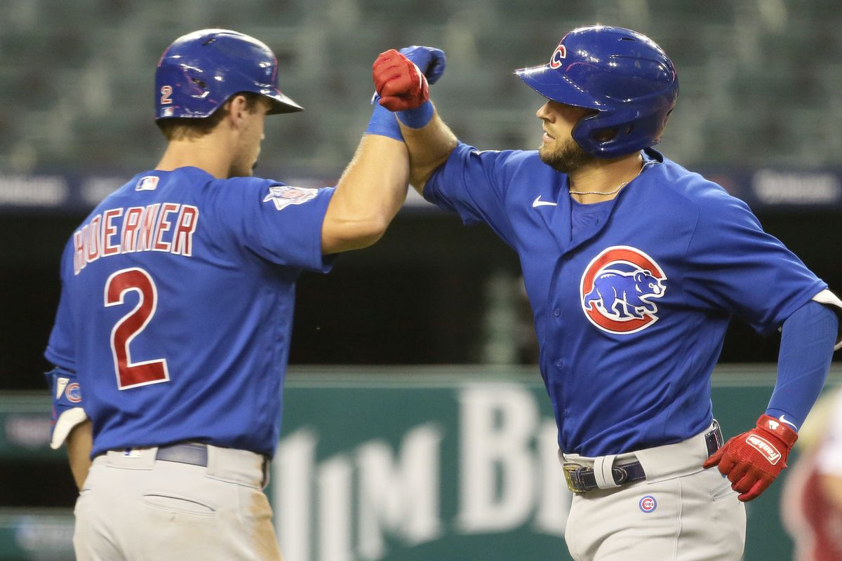 David Bote (right) got the call over Nico Hoerner (left).