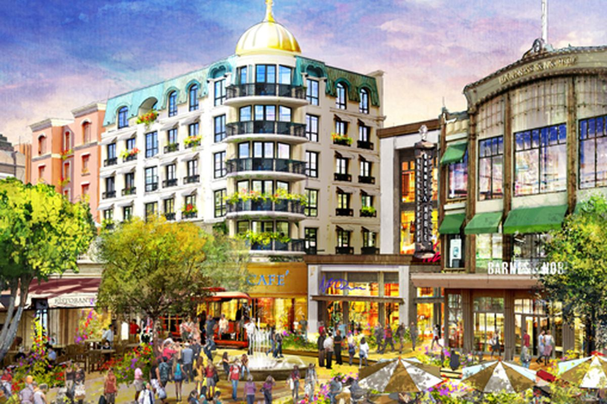 """We think it's going to take more than just another fountain for Caruso to lure hip, relevant brands to The Americana. Image via <a href=""""http://la.curbed.com/archives/2011/01/carusos_americana_expanded_will_glendale_approve.php"""">Curbed</a>."""