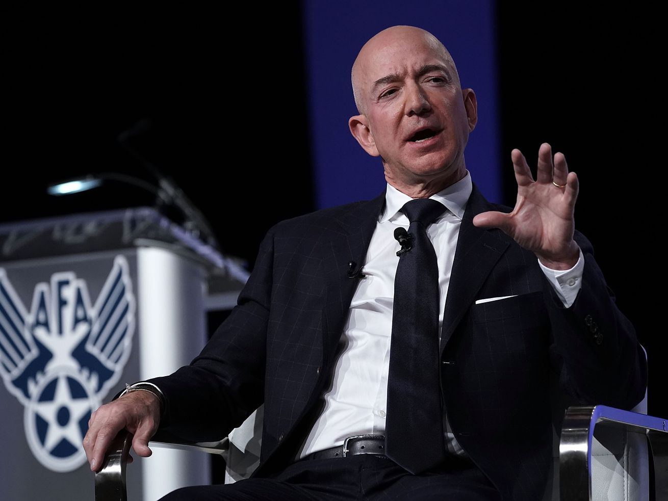 Amazon CEO Jeff Bezos participates in an event hosted by the Air Force Association on September 19, 2018, in National Harbor, Maryland.