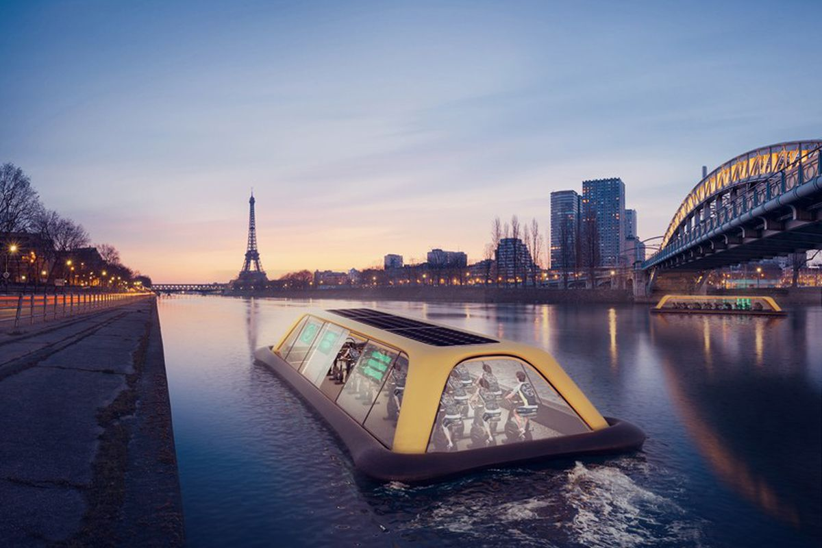 rendering of a floating gym on the Seine, powered by exercisers