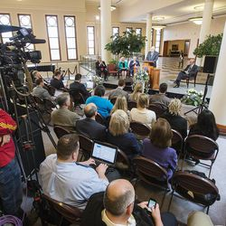 Elder Dallin H. Oaks, of the Quorum of the Twelve Apostles, speaks at a news conference Tuesday, Jan. 27, 2015, inside the Conference Center in Salt Lake City, to reemphasize support for LGBT nondiscrimination laws that protect religious freedoms.
