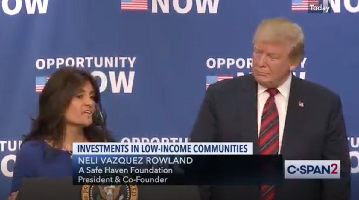 Neli Vazquez Rowland, president of A Safe Haven, with President Donald Trump in April 2019.