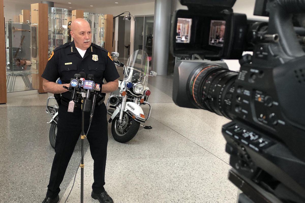 Salt Lake City's police chief is interviewed by reporters in Salt Lake City during a year when many police reform initiatives were brought up.