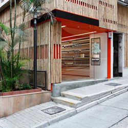 Aesop's Hong Kong store's bamboo-covered exterior