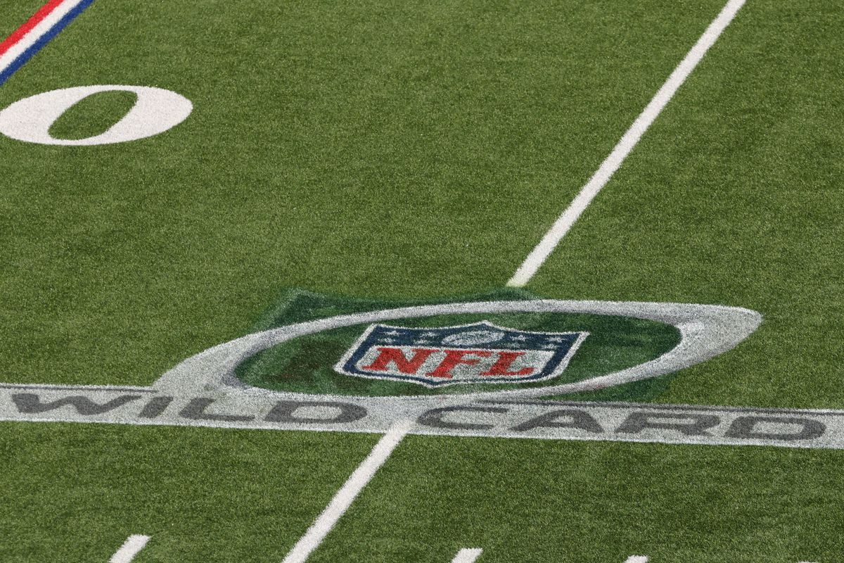 A general view of the NFL Wild Card logo on the field before a game between the Buffalo Bills and the Indianapolis Colts at Bills Stadium on January 9, 2021 in Orchard Park, New York.