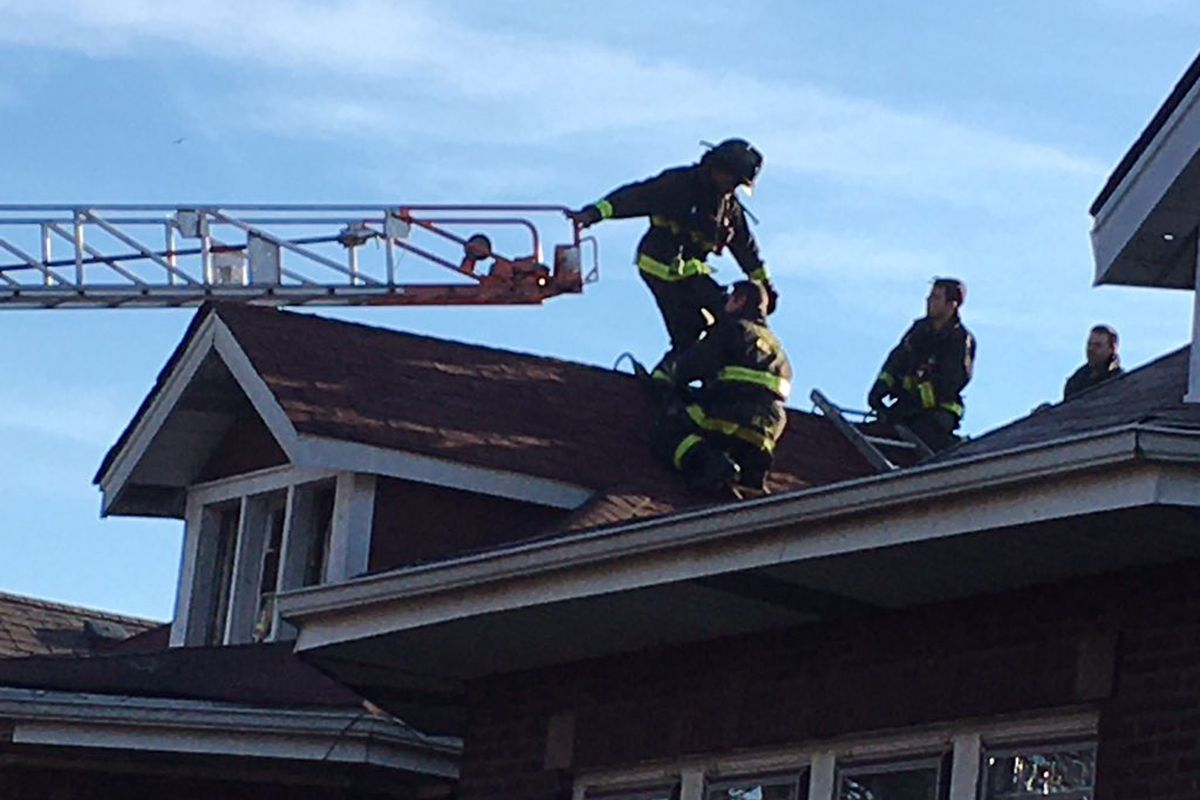 Firefighters at the scene of a blaze March 29, 2021, in the 7800 block of South Prairie Avenue.