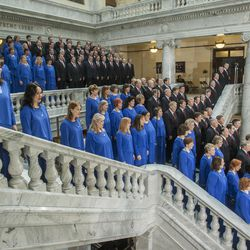 FILE - The Tabernacle Choir perform during Inauguration ceremonies Monday, Jan. 7, 2013 for Governor Gary R. Herbert and Lt. Governor Greg Bell inside the rotunda of the Utah State Capitol.
