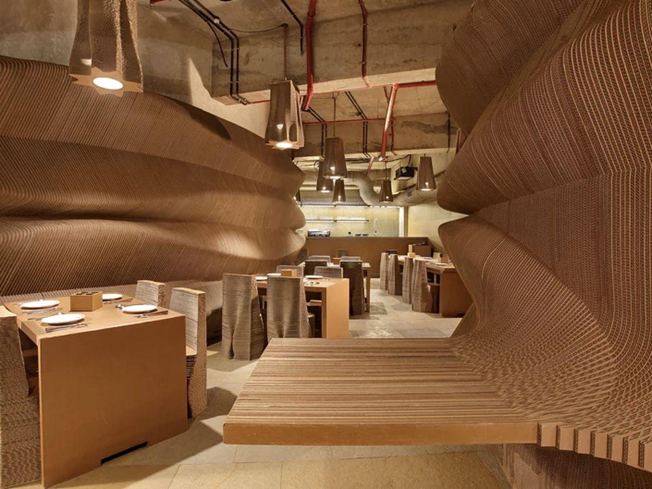 Inside a cafe made of cardboard