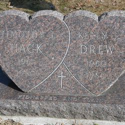 The gravestones of Timothy Hack and Kelly Drew are seen at Hebron Cemetery.