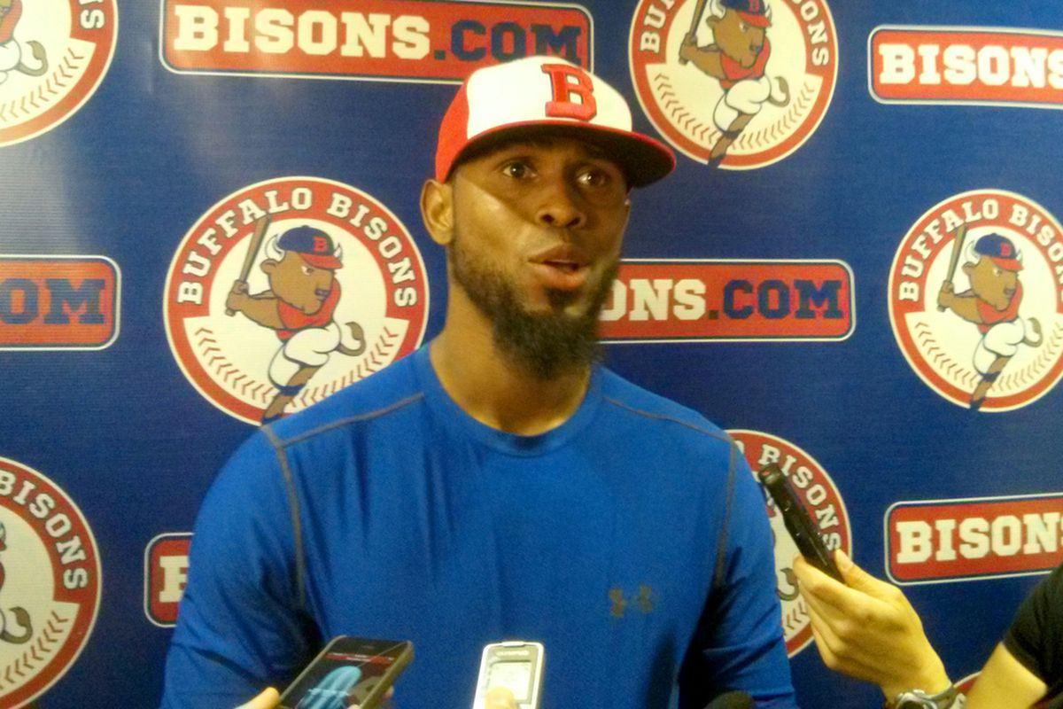 Jose Reyes addresses the media after his first game with the Bisons.