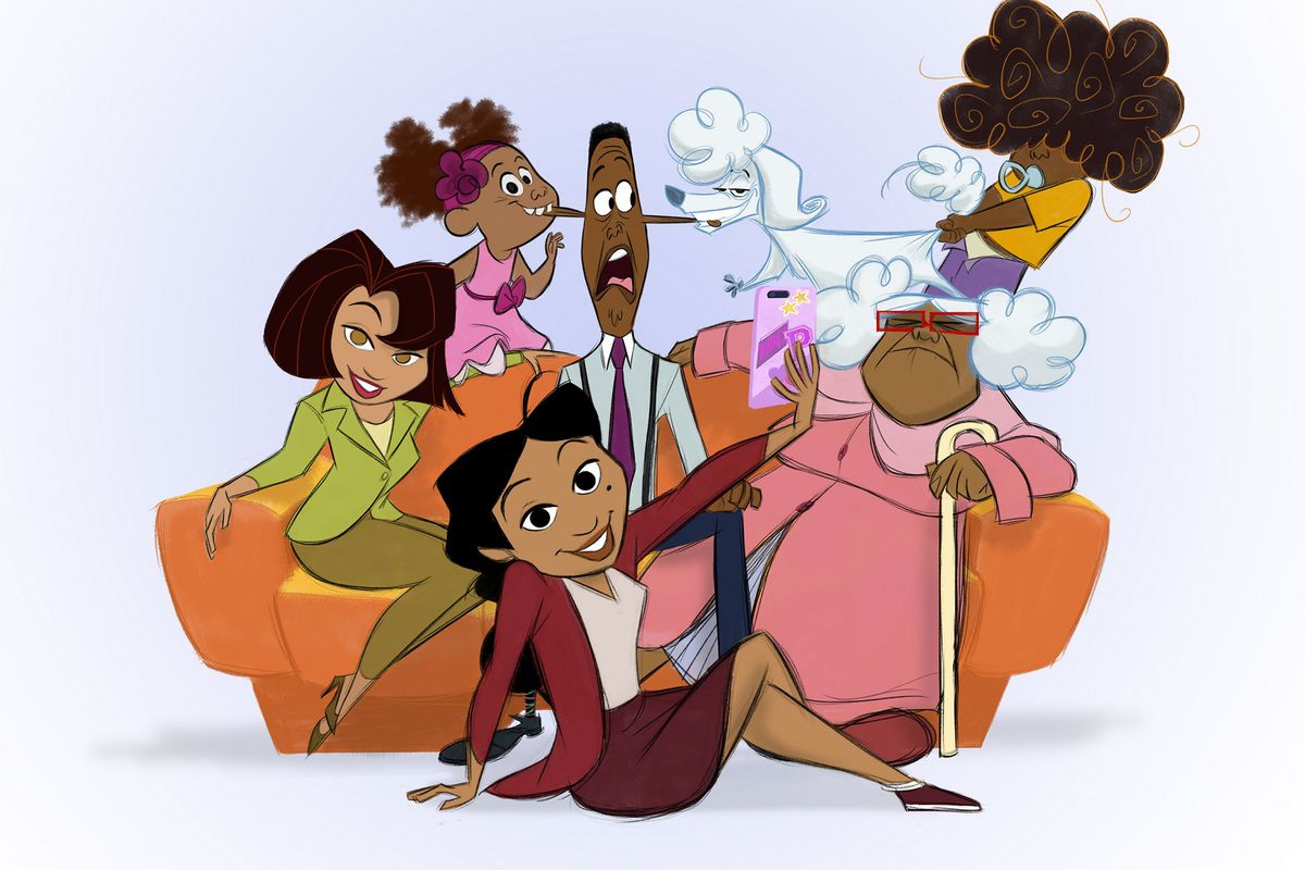 concept art for The Proud Family: Louder and Prouder, showing a black family sitting together in front of their orange couch
