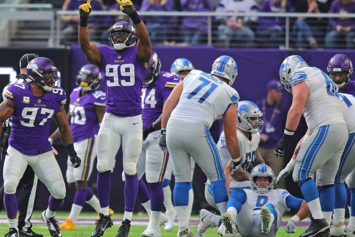 9c41302a721 Everson Griffen (97) and Danielle Hunter (99) of the Minnesota Vikings  celebrate Hunter s sack of Matthew Stafford (9) of the Detroit Lions in the  Vikings ...