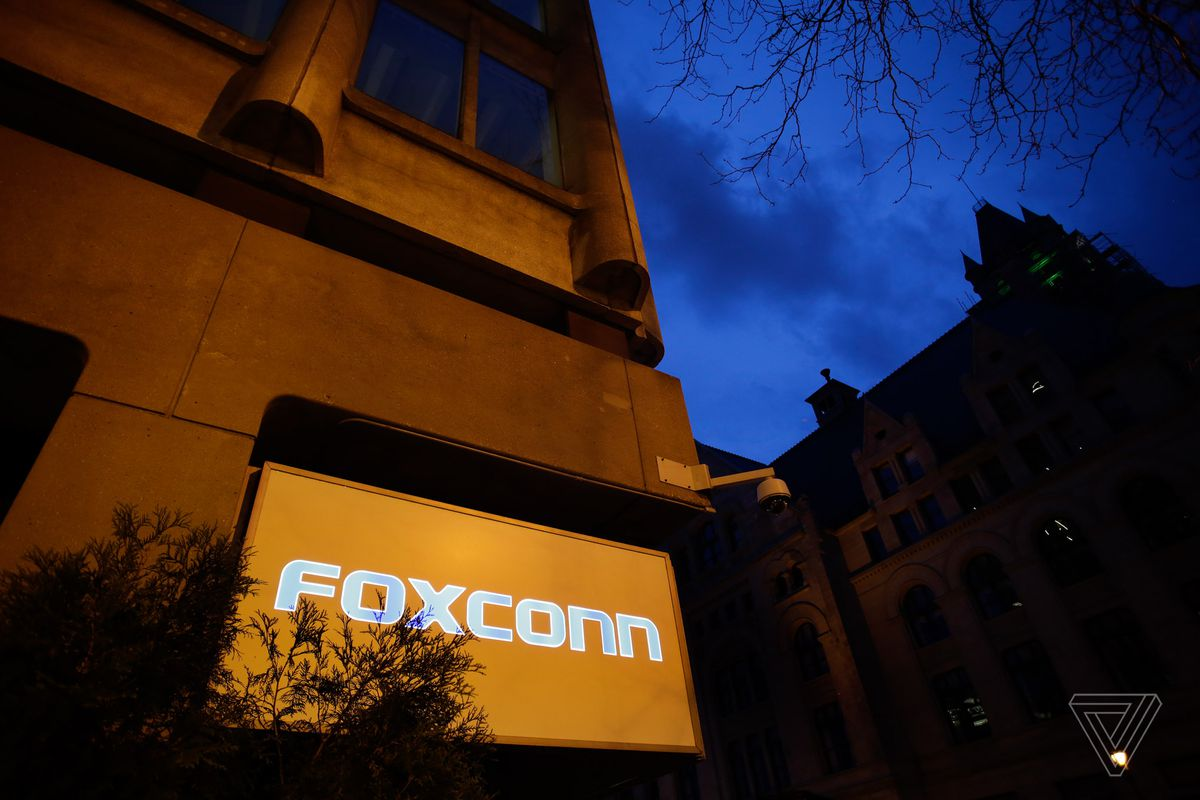 The Foxconn name displayed outside of an office building on Wednesday, May 8 2019 in Milwaukee, Wisconsin. Foxconn is a electronics contract manufacturing company, which is constructing a plant in south eastern Wisconsin creating thousands of jobs.