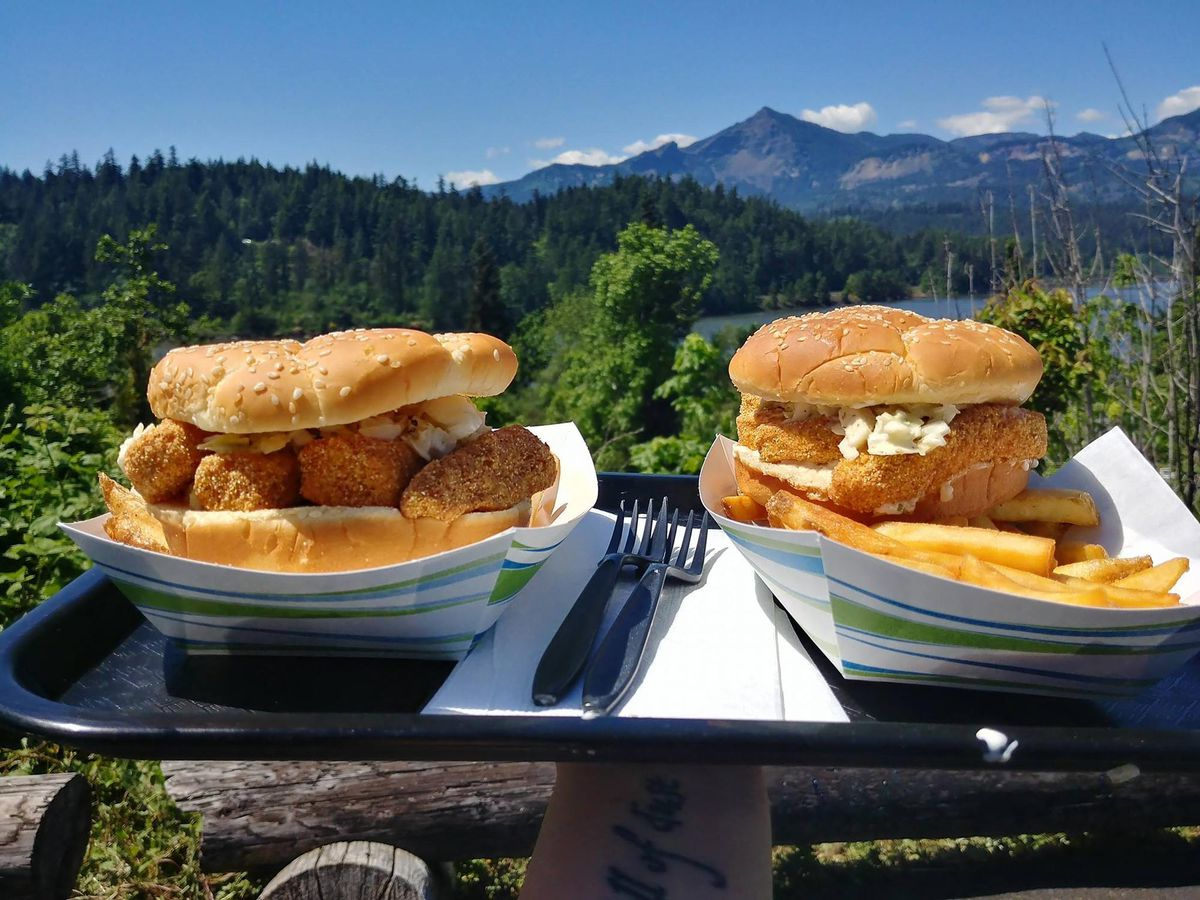 Two fried-fish sandwiches with sides of french fries sit on a tray with mountains in the background.