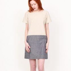 <b>Penelope's</b> Brooklyn Tailors Chambray Combo Dress originally $219, sale $99