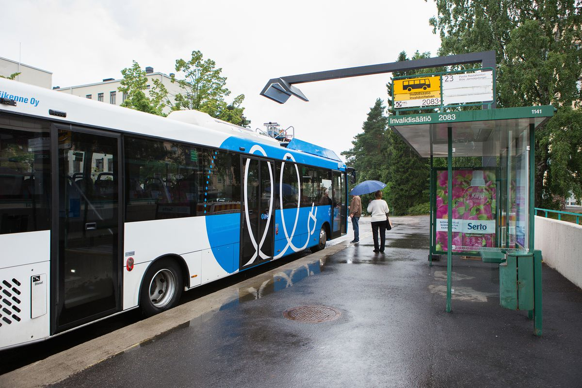 An electric bus being recharged wirelessly in Helsinki, Finland.