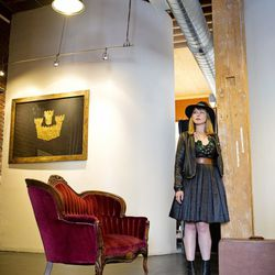 <b>Cydney Chandler</b>, Manager of Retail Operations, wearing a vintage dress, See by Chloe jacket, Marni necklace, A Peace Treaty earrings, and Goorin Bros. County Line hat in emerald. <br> <b>Your closet is on fire! What three items do you save from th