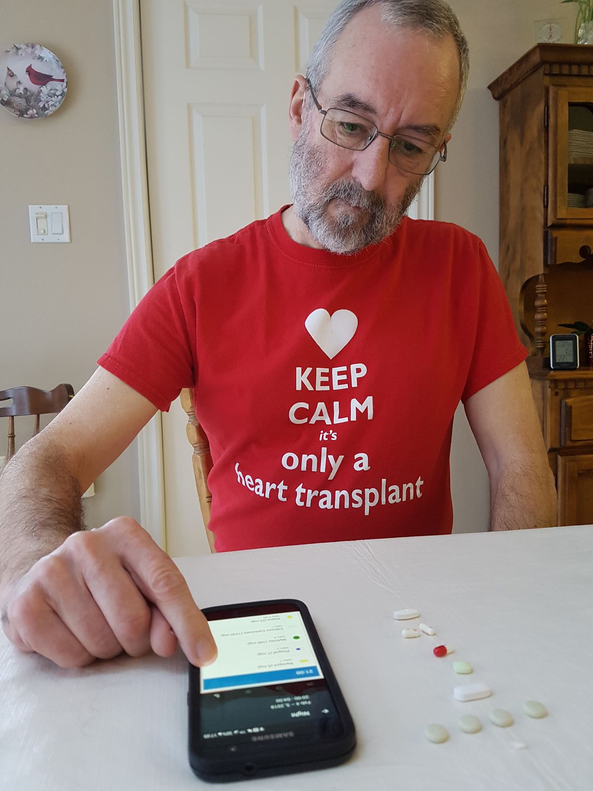 Mike Willis takes 27 pills a day, most of them anti-rejection drugs to ensure that his body doesn't reject the heart transplant he received 2½ years ago. He uses an app called Medisafe to help him keep track of when it's time for his next dose.| Courtesy