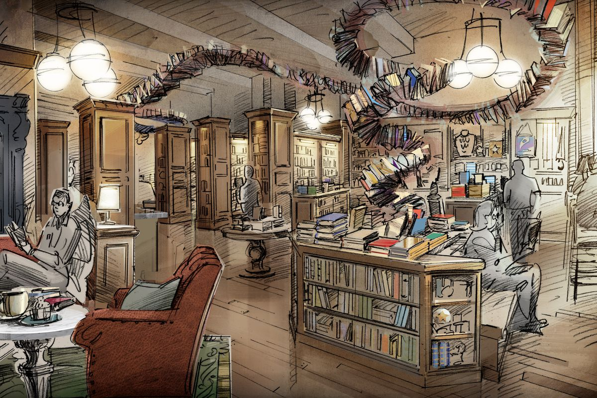 A rendering of a library with multiple bookshelves and seating areas.