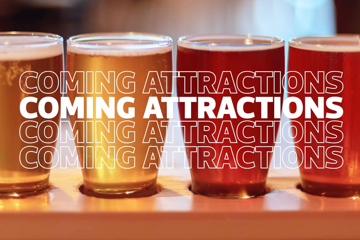 Eater graphic coming attractions words over beer glasses filled with beer