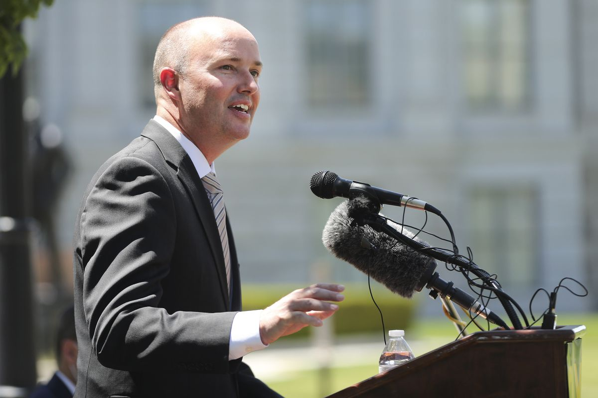 Lt. Gov. Spencer Cox, GOP nominee for governor, speaks during a press conference outside of the Capitol in Salt Lake City on Tuesday, July 7, 2020.On Monday, Cox and his running mate, state Sen. Deidre Henderson, R-Spanish Fork, were declared the winners in the GOP gubernatorial primary.