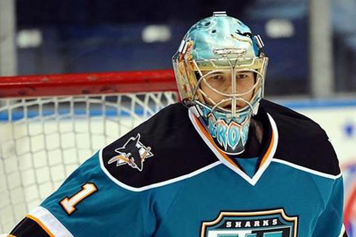 Worcester Sharks goaltender Troy Grosenick made 34 saves for his 10th win of the season Sunday afternoon against the Providence Bruins (Photo via ecahockey.com)