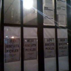 """""""Beer, Biscuits and Pickles"""" going in on amsterdam and ~85th st... Soul food maybe?"""