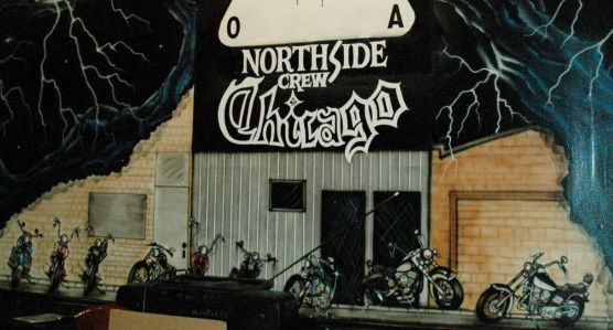 A mural on a wall inside the Outlaws' former North Side clubhouse in the 3700 block of West Division Street, as seen in recent years.