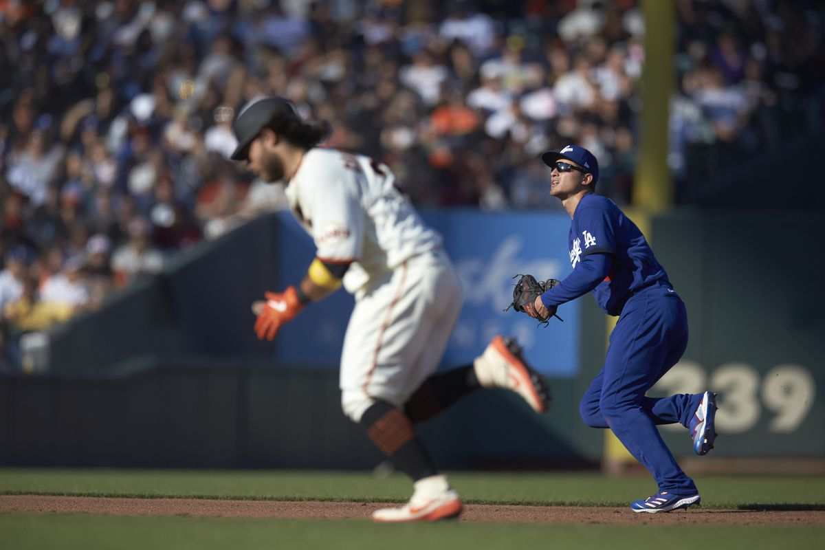 Los Angeles Dodgers Corey Seager (5) in action, fielding vs San Francisco Giants at Oracle Park.