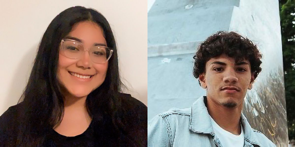 (Left) Elizabeth Jaramillo, wearing a black shirt and glasses, smiles for a portrait. (Right) Joaquin Martinez, wearing a blue jacket and white shirt, smiles for a portrait in front of a large silver monument.