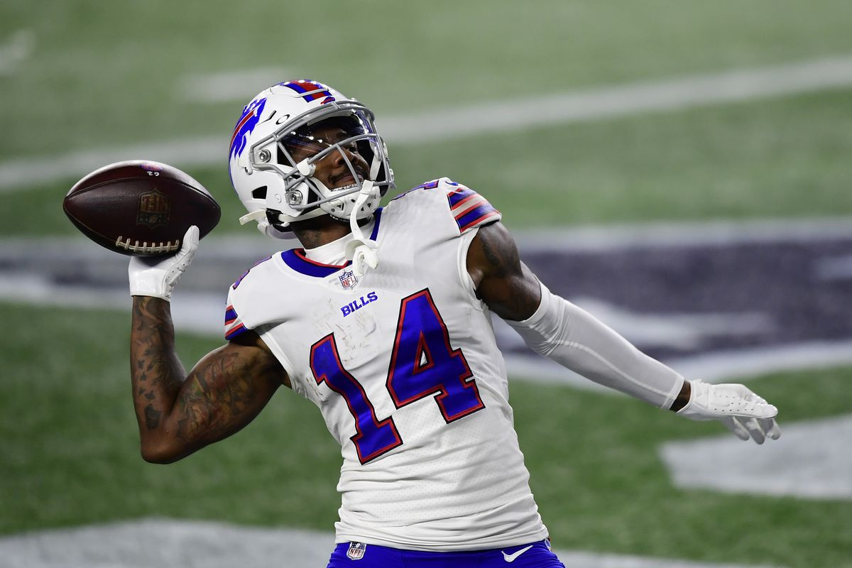 Stefon Diggs #14 of the Buffalo Bills reacts after scoring his second touchdown of the game during the second half against the New England Patriots at Gillette Stadium on December 28, 2020 in Foxborough, Massachusetts.