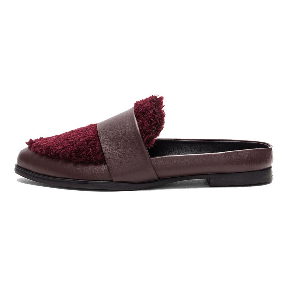 burgundy backless loafer with fur