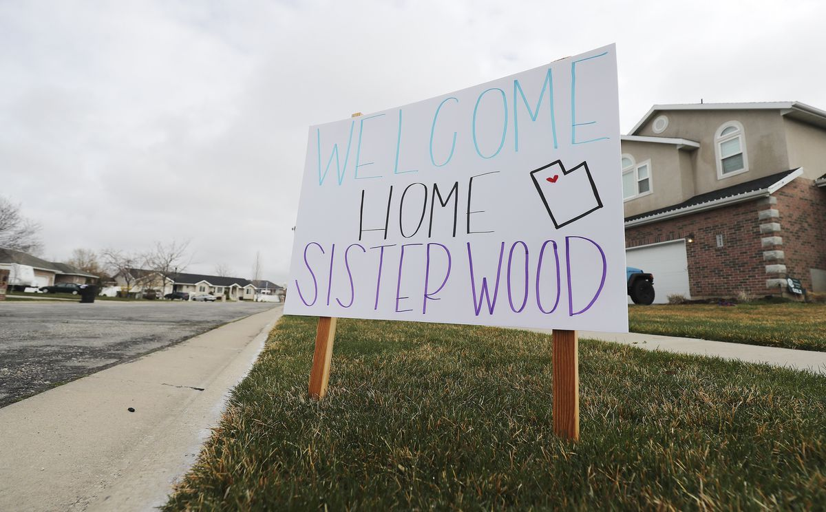 A sign welcoming Sister Lillian Wood home from her mission for The Church of Jesus Christ of Latter-day Saints in California is pictured in Syracuse on Wednesday, March 25, 2020. Latter-day Saint missionaries who leave Utah to proselytize in other states and nations typically aren't counted in the decennial census, but many will factor into the 2020 count after being sent home due to concerns over the novel coronavirus.