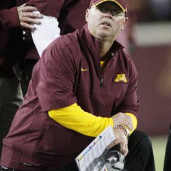 FILE - In this Sept. 22, 2012, file photo, Minnesota head coach Jerry Kill looks up from the sideline during the second half of NCAA college football game against Syracuse in Minneapolis. Minnesota enters Big Ten play as one of only three unbeaten teams in the conference, bringing plenty of confidence into the tougher part of the schedule.