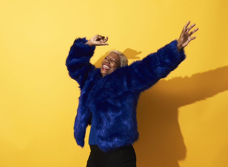 A dyed-blue fur coat.