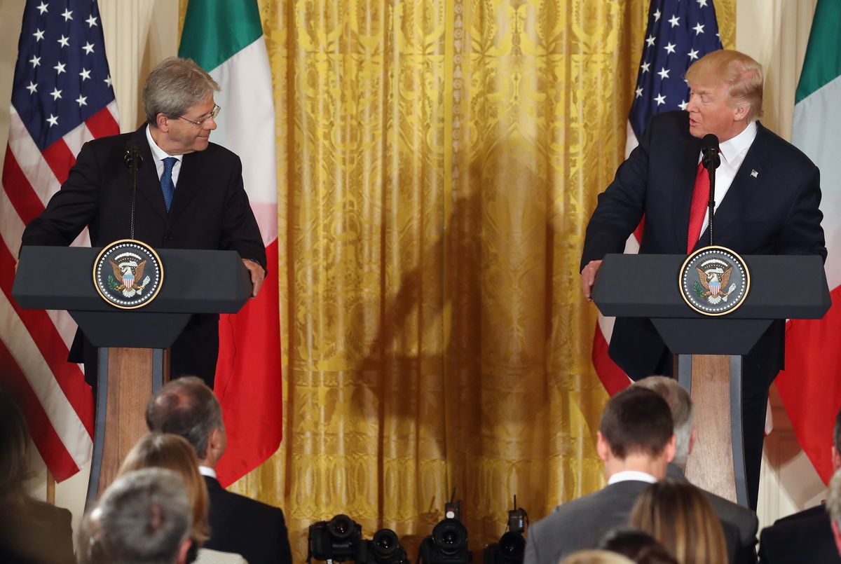 Donald Trump Meets With Italian PM Paolo Gentiloni At The White House