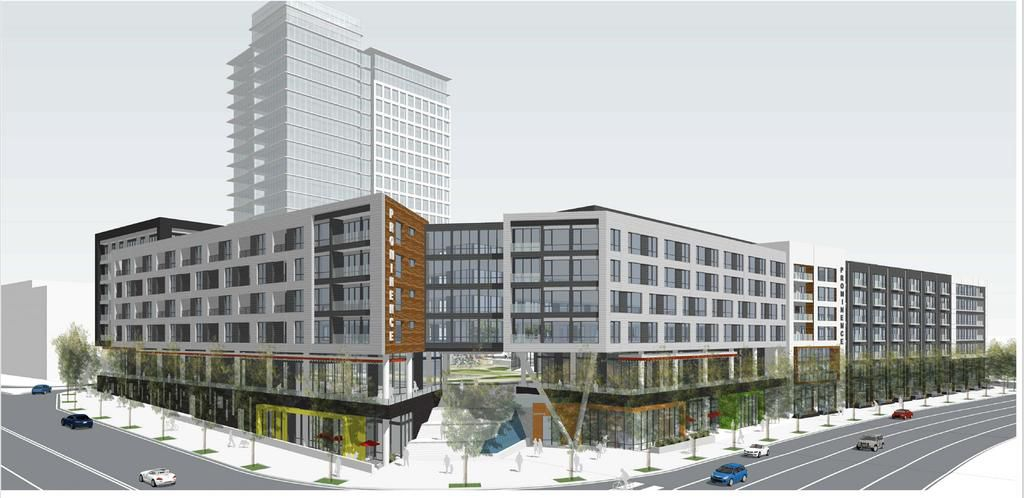 A rendering of a six-story apartment building along Piedmont and Lenox roads.