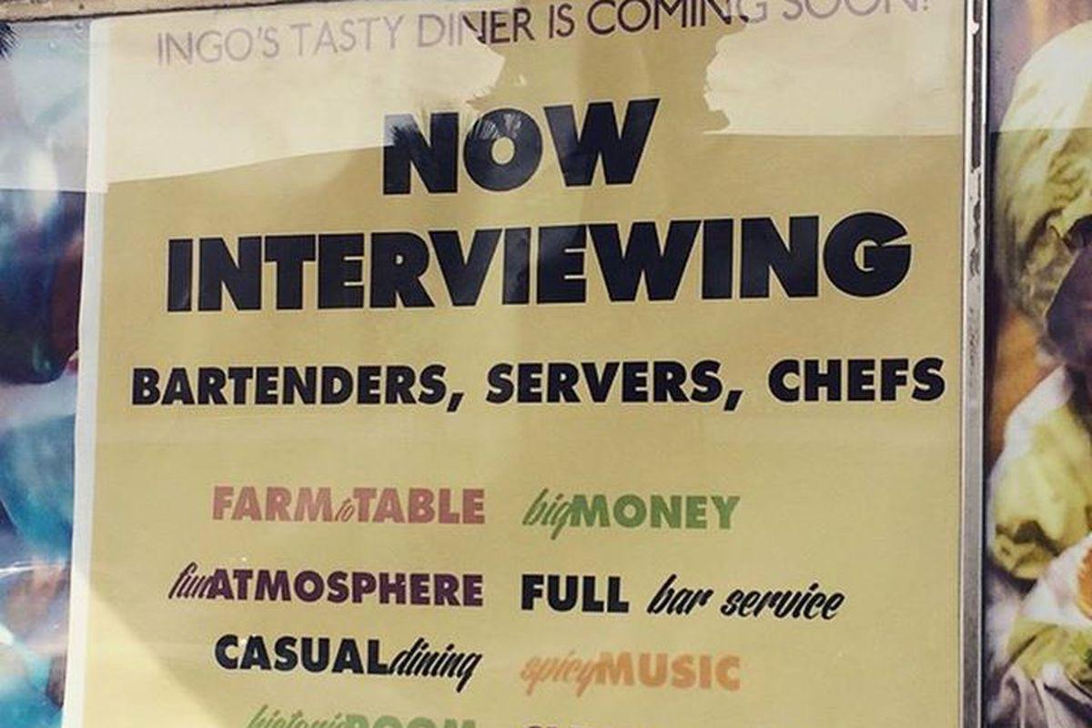 Ingo's Tasty Diner is Hiring