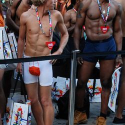 Interesting underwear choice, dude with the hair. Nice abs, dude with no hair.