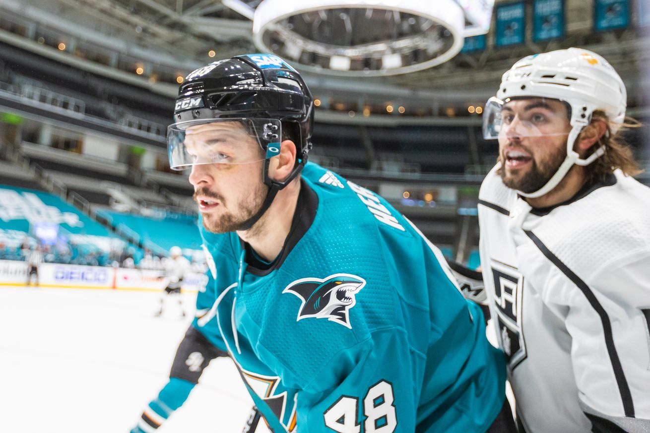 San Jose Sharks Center Tomas Hertl (48) is tired during 3rd period of the NHL hockey game between the Los Angeles Kings and San Jose Sharks on March 24, 2021 at SAP Center in San Jose, CA.